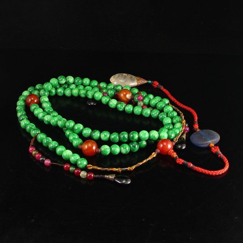 Vintage Jadeite & Agate Crystal Court Beads Necklace
