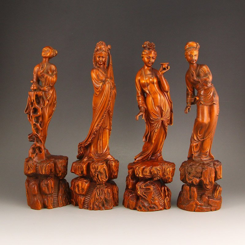 Vintage Chinese Boxwood Statues - Four Beautiful Girls