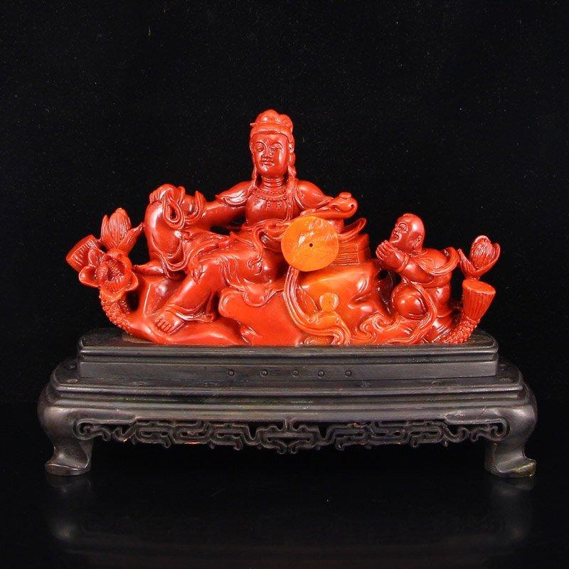 Chinese Shoushan Stone Kwan-yin & Kid Statue