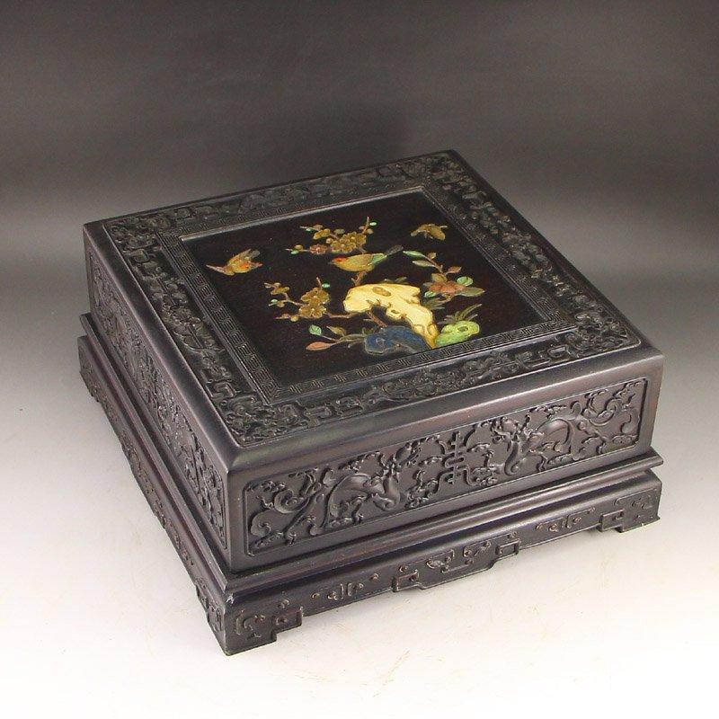Chinese Zitan Wood Inlay Shells & Gems Jewelry Box