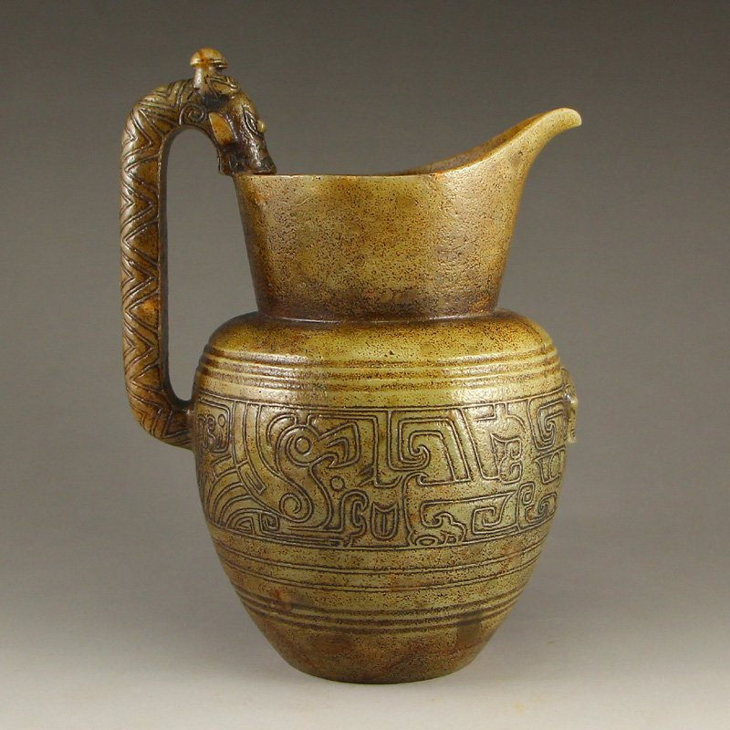 Chinese Han Dynasty Hetian Jade Wine Pot