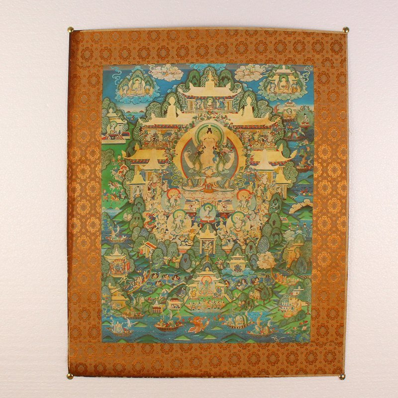 Hand Painted Tibetan Buddhism Kraft Thangka - Tara