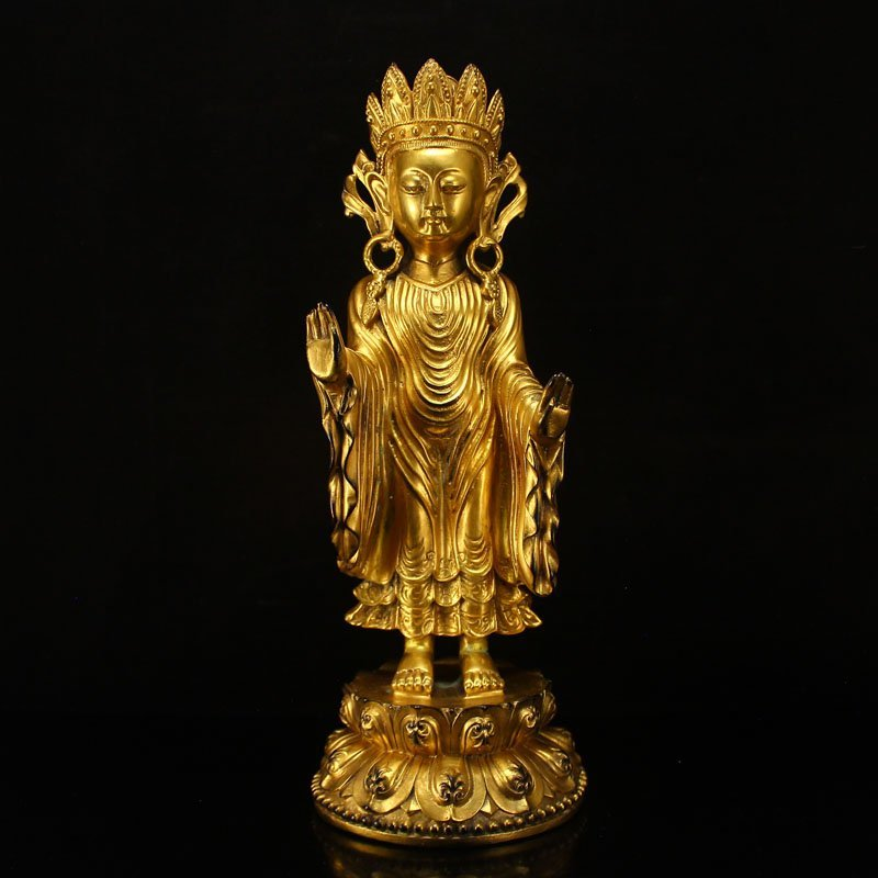 Chinese Ming Dy Gilt Gold Bronze Boddhisattva Statue