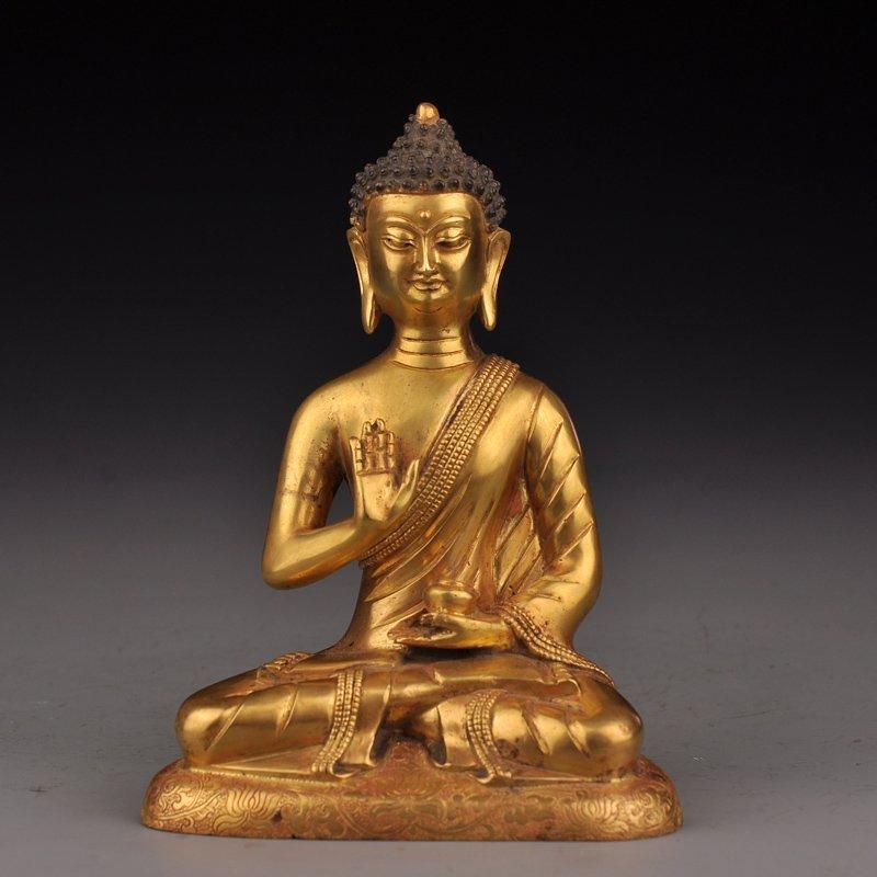 Chinese Gilt Gold Bronze Siddhartha Buddha Statue