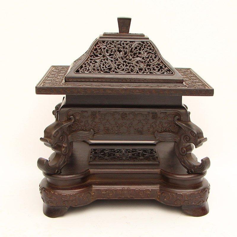Vintage Chinese Zitan Wood Low Relief Incense Burner