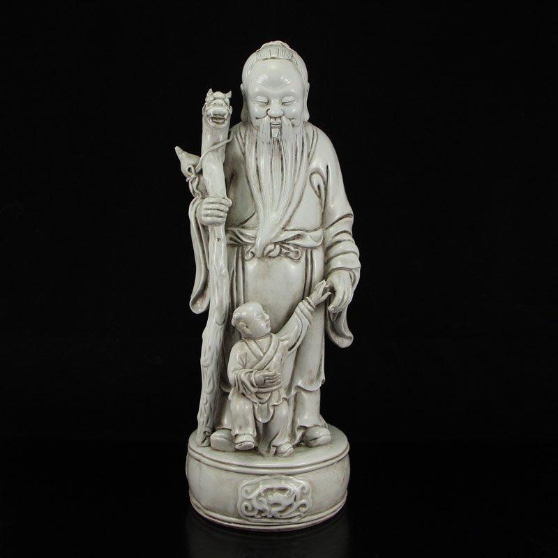 De Hua Kiln Porcelain Longevity Old Man & Kid Statue
