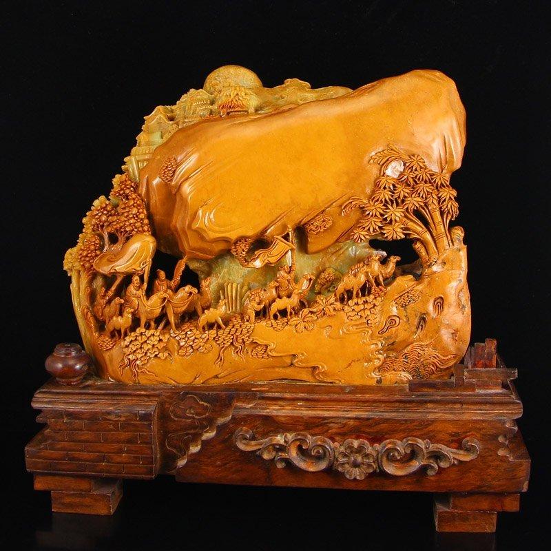 Chinese Shoushan Stone Statue - The Silk Road