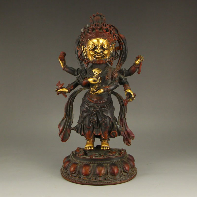 Tibet Buddhism Gilt Gold Red Copper Mahakala Statue