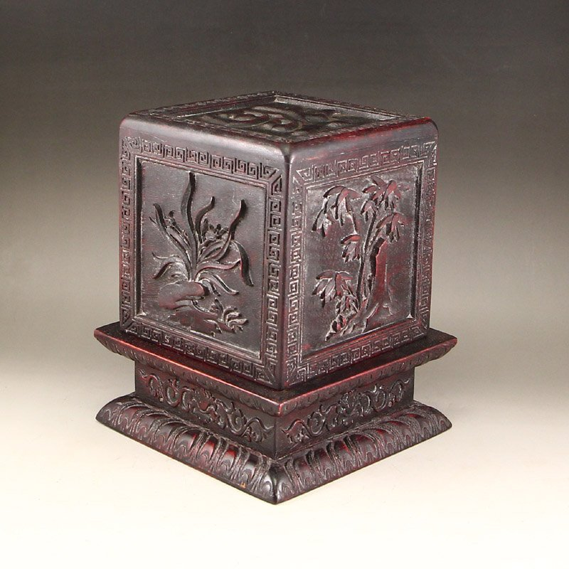 Vintage Chinese Zitan Wood Seal Box