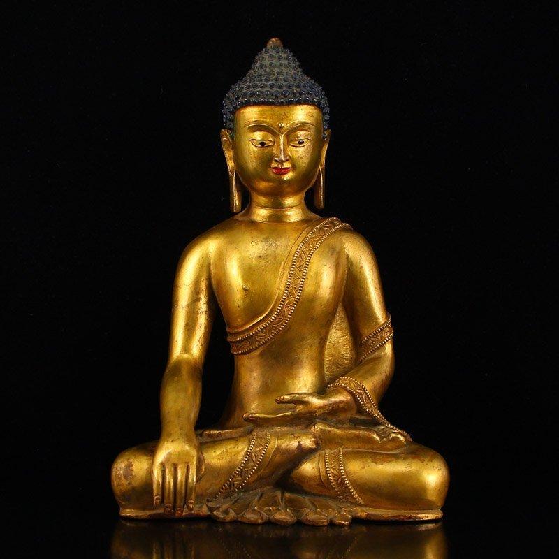 China Ming Dy Gilt Gold Bronze Siddhartha Buddha Statue