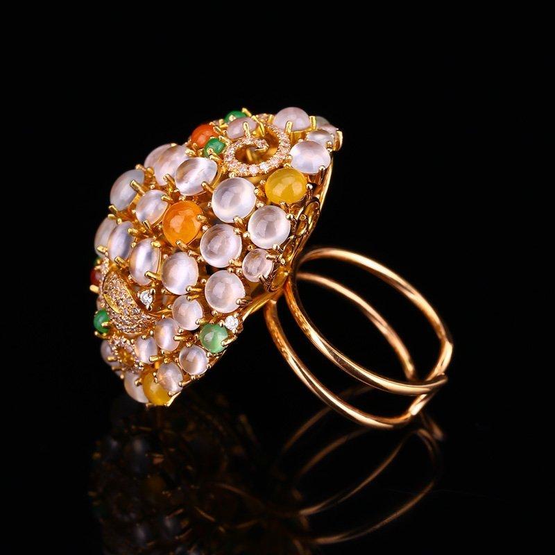 Superb 18K Gold Inlay Jadeite Diamonds Pendant & Ring