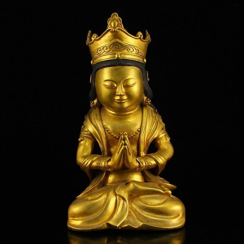 Chinese Ming Dy Gilt Gold Bronze Bodhisattva Statue