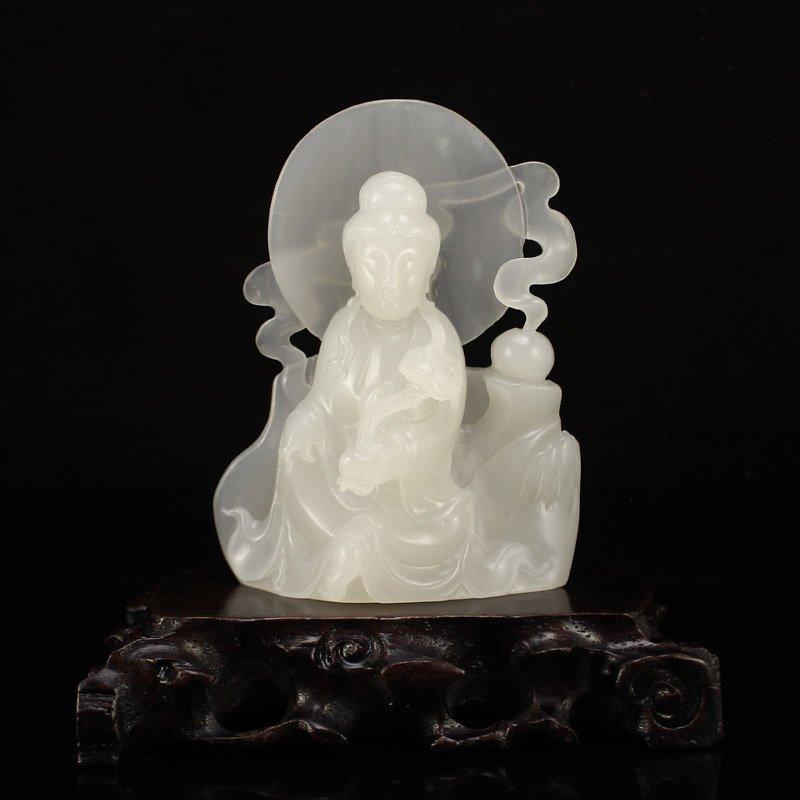 Superb Chinese White Hetian Jade Kwan-yin Statue