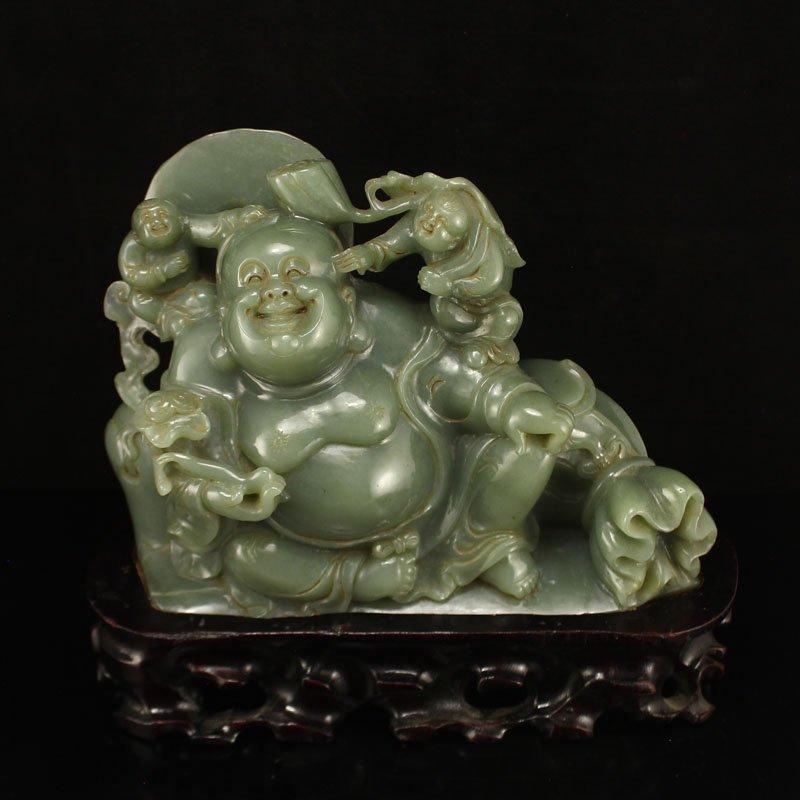 Chinese Hetian Jade Statue - Laughing Buddha & Kids