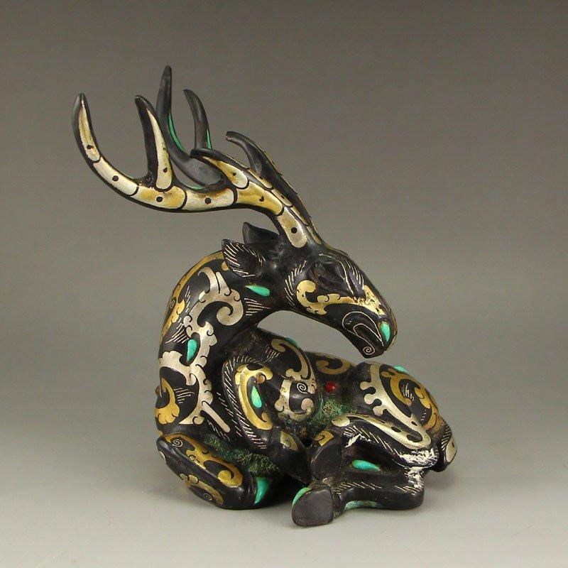 Vintage Chinese Gilt Gold & Silver Bronze Statue - Deer
