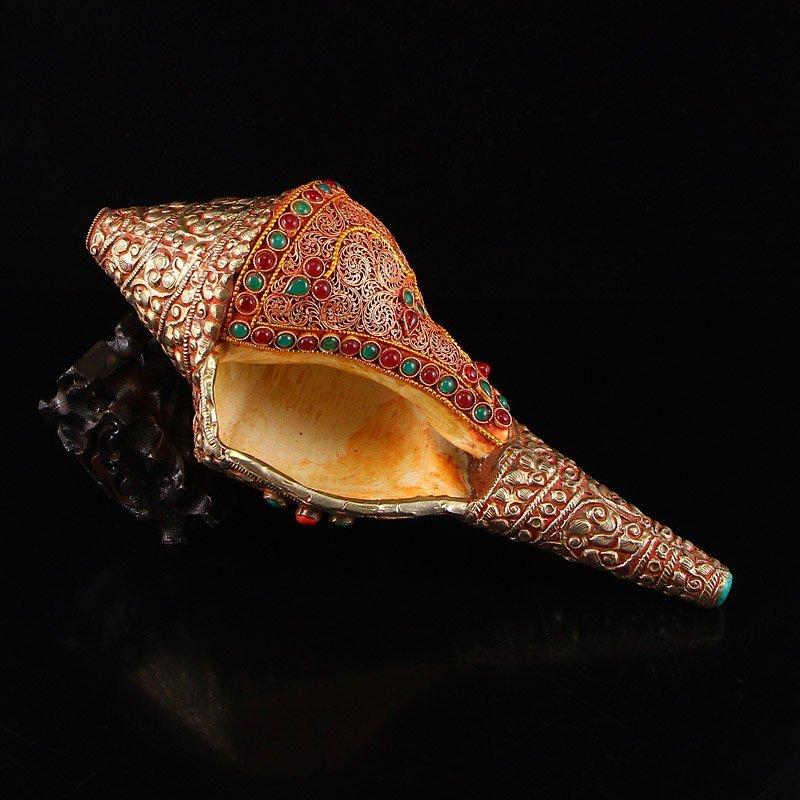 Buddhism Shell Inlay Silver Wire & Gems Pray Trumpet