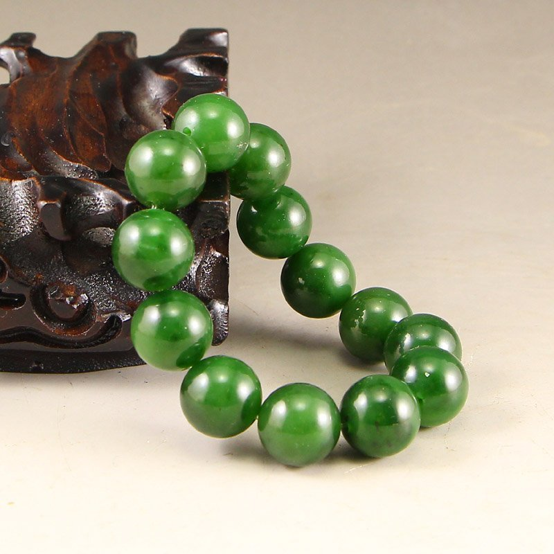 Chinese Natural Green Hetian Jade Beads Bracelet