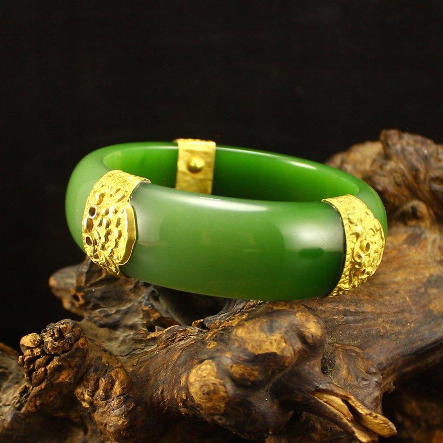 18K Gold 57mm Chinese Green Hetian Jade Bracelet