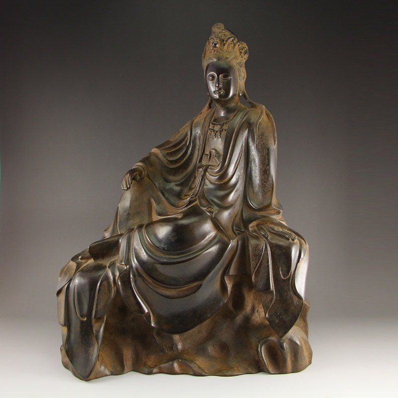 Chinese Qing Dynasty Red Copper Kwan-yin Statue