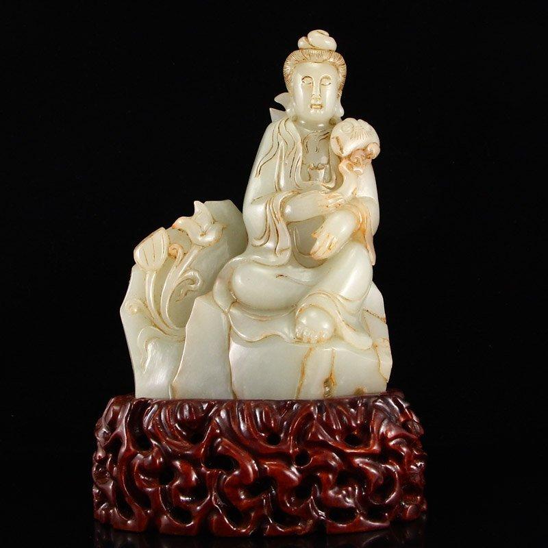 Vintage Chinese Hetian Jade Kwan-yin Statue