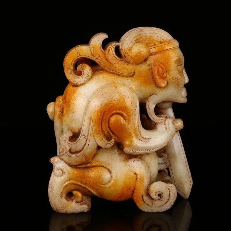 Chinese Han Dynasty Hetian Jade Figure Statue