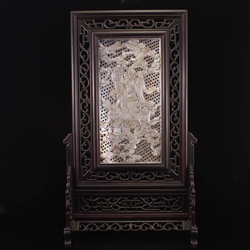 Vintage Chinese Zitan Wood Inlay Hetian Jade Screen