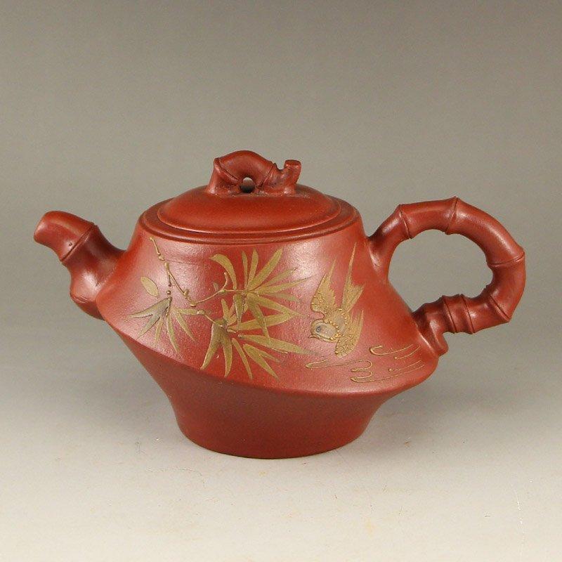 Chinese Yixing Zisha Clay Bamboo & Bird Teapot
