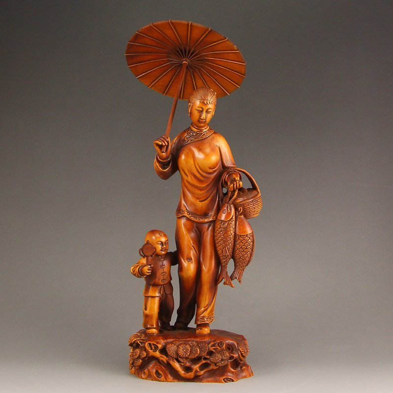 Vintage Chinese Boxwood Wood Statue - Woman & Kid