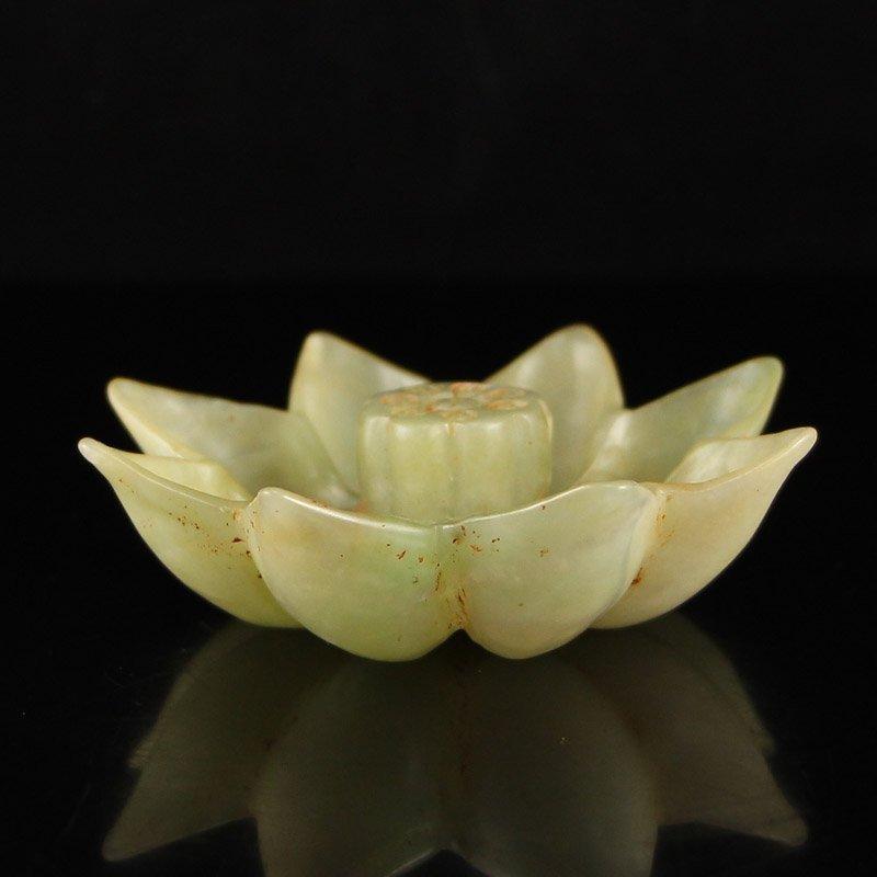 Vintage Chinese  Hetian Jade Lotus Incense Burner
