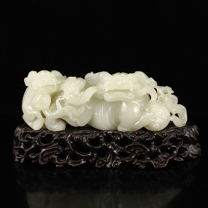 Chinese Qing Dynasty Hetian Jade Statue - Lions & Ball