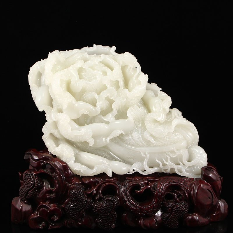 Superb Chinese Hetian Jade Statue - Fortune Cabbage