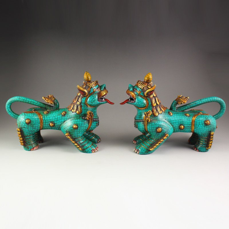 Tibet Bronze Gilt Gold Inlay Turquoise Statue - Beasts