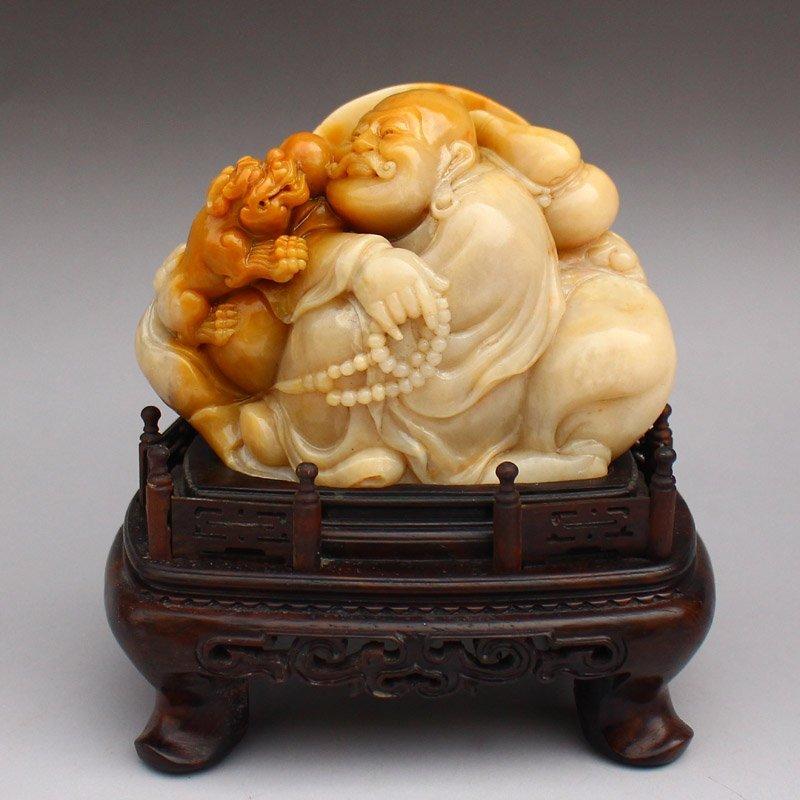 Chinese Shoushan Stone Statue - Arhat & Lion