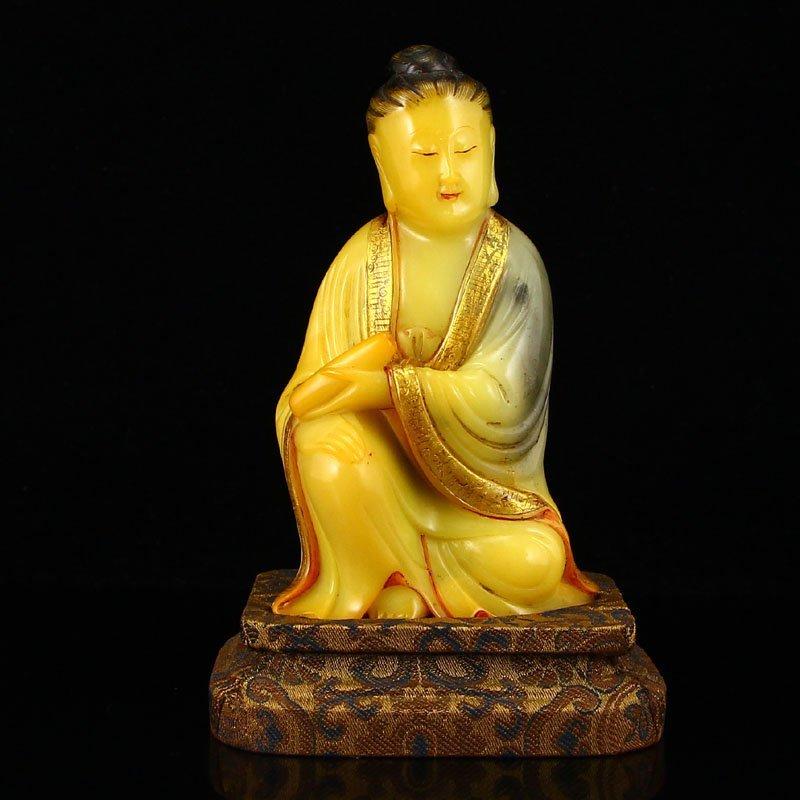 Vintage China Gilt Gold Shoushan Stone Kwan-yin Statue