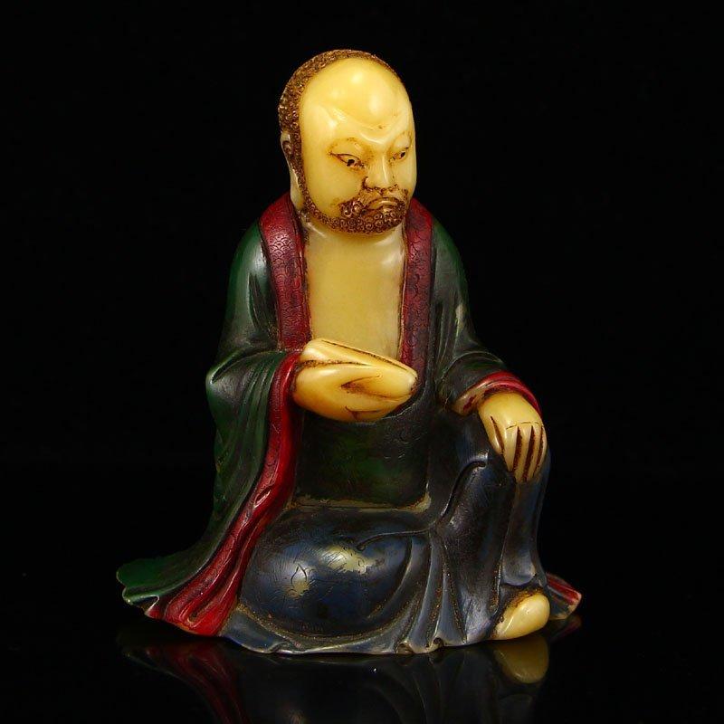 Vintage Chinese Shoushan Stone Statue - Arhat