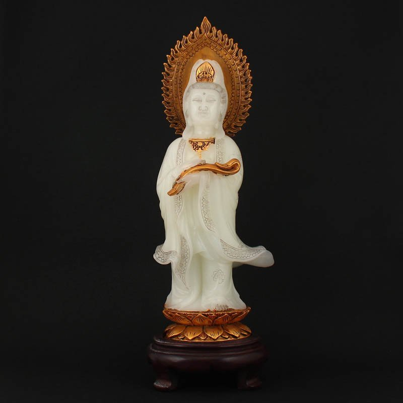Vintage Chinese Gilt God Shoushan Stone Kwan-yin Statue