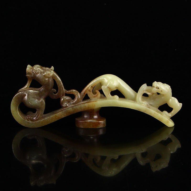 Vintage Chinese Hetian Jade Fortune Beasts Belt Buckle