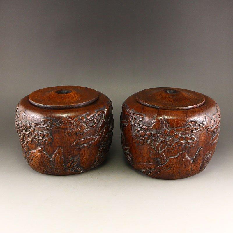 A Pair Vintage Vietnam Huali Wood I-go Pot