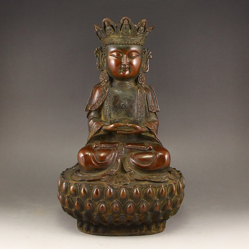 Vintage Chinese Red Copper Buddha Statue