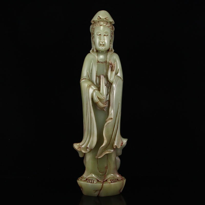 Vintage Natural Chinese Hetian Jade Kwan-yin Statue
