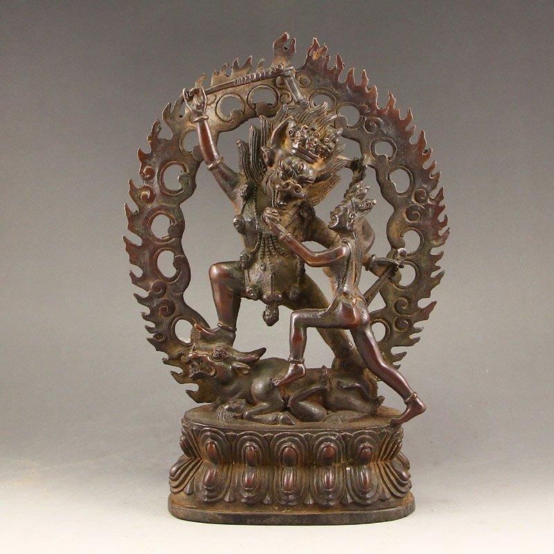 Vintage Tibetan Buddhist Bronze Vajra Statue