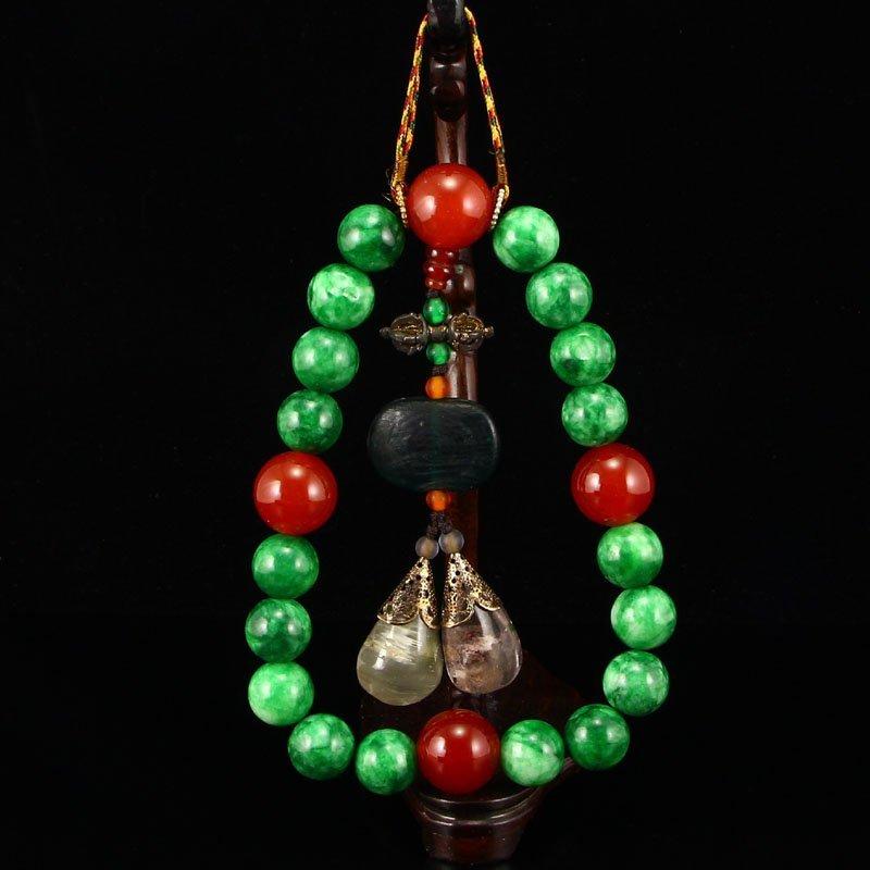 Chinese Green Jade Crystal & Agate Beads Bracelet