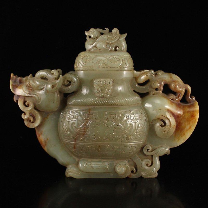 Chinese Han Dy Hetian Jade Dragon Head Incense Burner