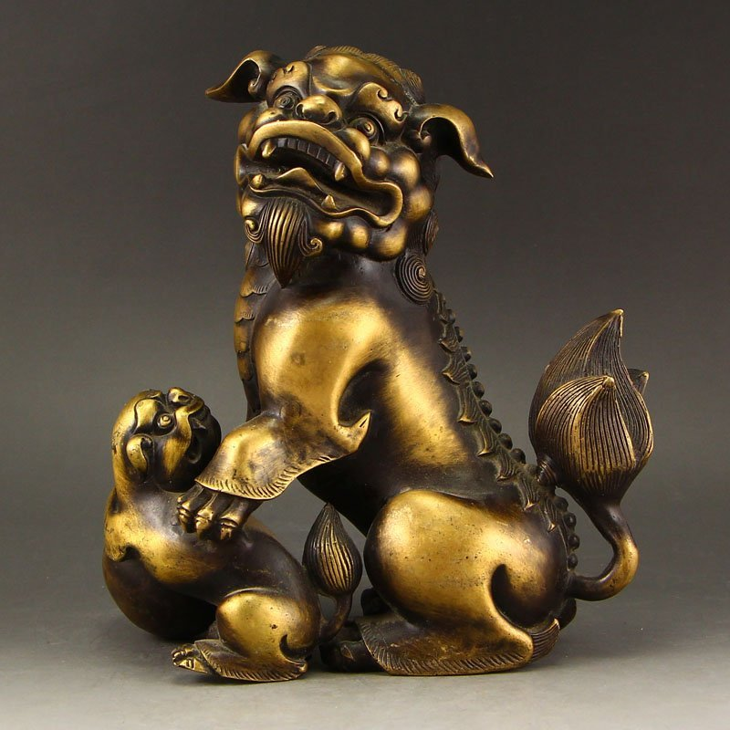 Vintage Chinese Brass Lions Statue