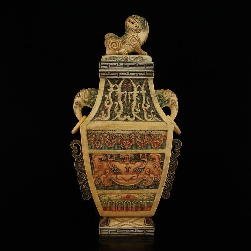 Vintage Chinese Bone Lion Double Rings Vase