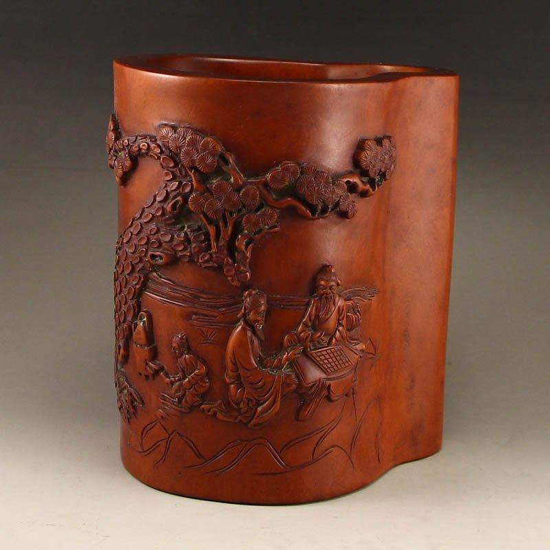 Chinese Boxwood Wood Brush Pot - Sages & Pine Tree