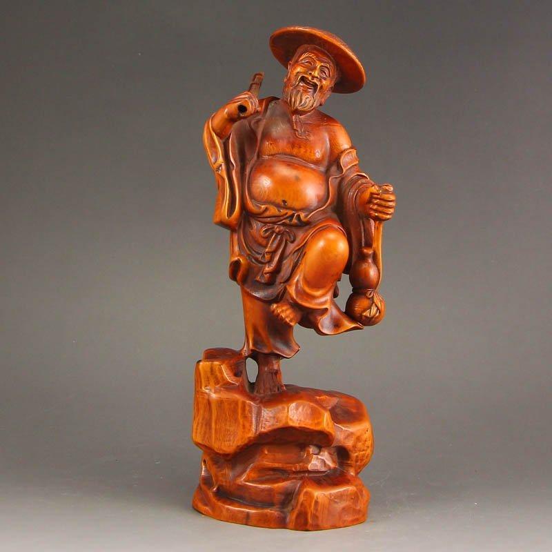 Vintage Chinese Boxwood Wood Statue - Fisherman