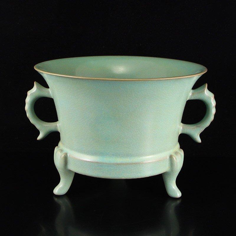 Chinese Song Dy Ru Kiln Porcelain 3 Legs Incense Burner