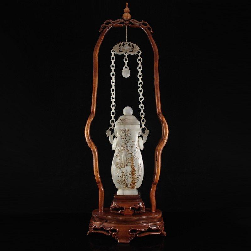 Chinese Qing Dynasty Hetian Jade Double Rings Vase