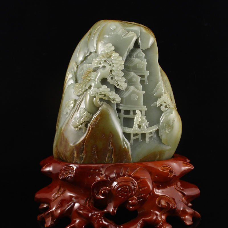 Chinese Hetian Jade Remote Mountains Sightseeing Statue